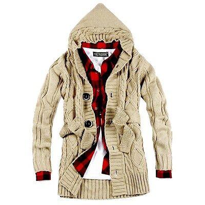 Fashion Men Knitted Hooded Cardigan Sweaters Knitwear Casual Sweater Coat Jacket