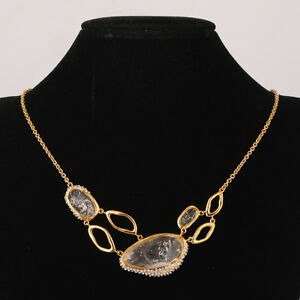 Alexis Bittar Semi-Precious Stone Crystal Gold Tone Bib Statement Necklace -$475