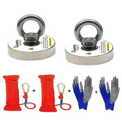 2x Fishing Magnet Kit 500 Lbs Pull Force Neodymium W Rope Carabiner Gloves