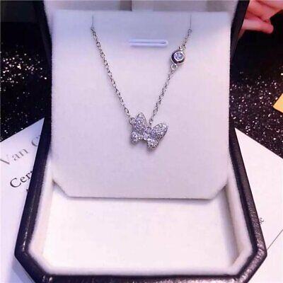 Butterfly Necklace Charm Pendant (ZARD Sterling Silver CZ Crystal Butterfly Shape Charm Station Necklace Pendant )
