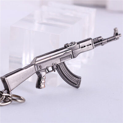 "Hot 2.5"" CF Assault Rifles Mini AK47 GUN Metal Keychain Keyring Pendant"