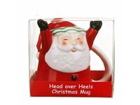Santa Head Over Heels Christmas Mug Upside Down Ideal Great Gift