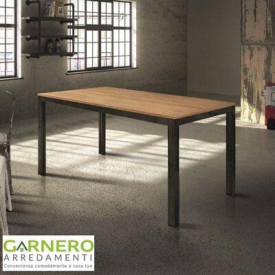 Tavolo vintage allungabile HENRY 140cm metallo anticato rovere sala da pranzo