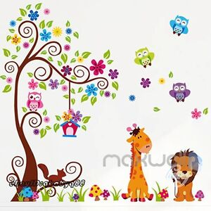 Large-Giraffe-Owl-Bird-Tree-Flower-Wall-Decals-Removable-kids-nursery-sticker