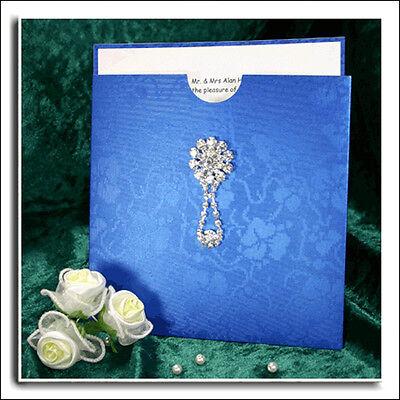 BLUE BRODERIE POCKET WALLET INVITATION MATCHING ENVELOPE CARD & PAPER INSERT Invitation Pocket Inserts