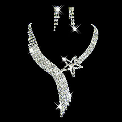 Stunning Wedding Necklace Earrings Set Party Jewelry Crystal Star Rhinestone