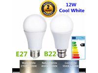 New Bright 10W 12W LED Bulb Lights Lamps Cool White 6400K B22 BC Bayonet Cap A60 Energy Saving