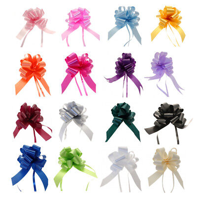 30mm Medium PULL BOWS Quality Wedding Car Gift Wrap Pew Party Poly Floristry Bow