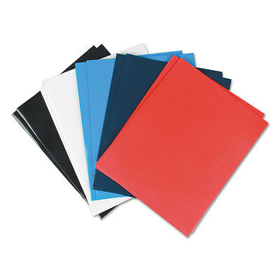 UNIVERSAL Laminated Two-Pocket Folder Cardboard Paper Assorted 11 x 8 1/2 25/Box