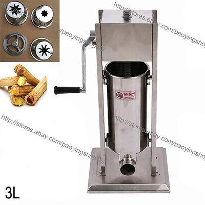 3l Stainless Steel Manual Spanish Donuts Churrera Churro Maker Machine Filler