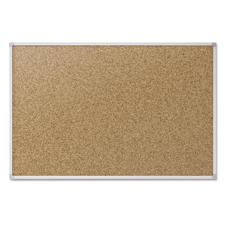 Mead Cork Bulletin Board 48 x 36 Silver Aluminum Frame 85362