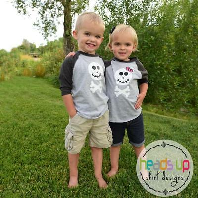 Twin Halloween Skull Shirts Boy/Girl Siblings Toddler Baby Trendy Tees Costumes (Sibling Costumes)