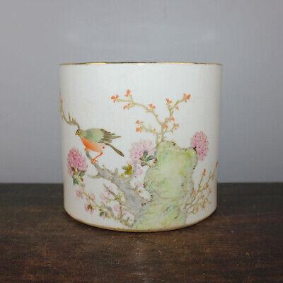 "4.7/""Chinese Famille-rose Porcelain Tree Peony Flower Bird Bamboo Small Brush Pot"