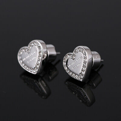 Michael Kors Silver Tone Heart Stud Earrings