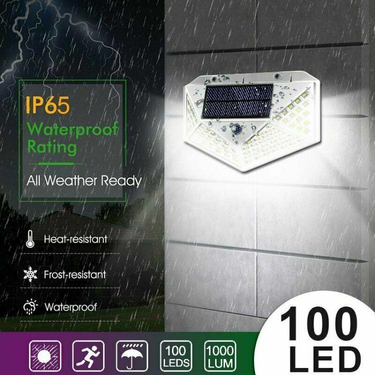 Waterproof 100 LED PIR Motion Sensor Solar Power Outdoor Garden Lamp Yard Light 5