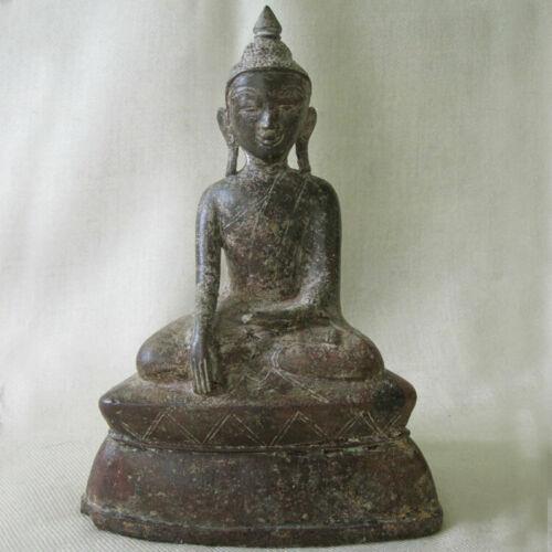 ANTIQUE 18THC BUDDHA STATUE BRONZE SHAN BURMA MYANMAR DHYANA ASANA MUDRA SERENE