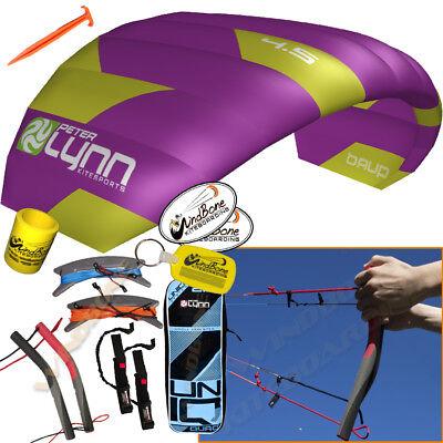 Peter Lynn UNIQ Quad 4.5M 4.5 Meter Single Skin Power Foil Kite 4-Line Handles for sale  Dunellen