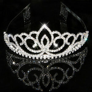 Wedding-Bridal-Tiara-Rhinestone-Silver-Crystal-Crown-Pageant-Prom-Veil-Headband
