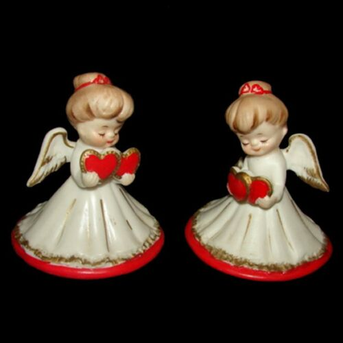 2 VinTAgE LeFTon Angell Girl Sisters Valentine Figurines Holding Hearts
