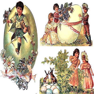 (Lot of 3) VICTORIAN EASTER GREETING CARD s MINT B. Shackman Eggs Chicks Bunnies