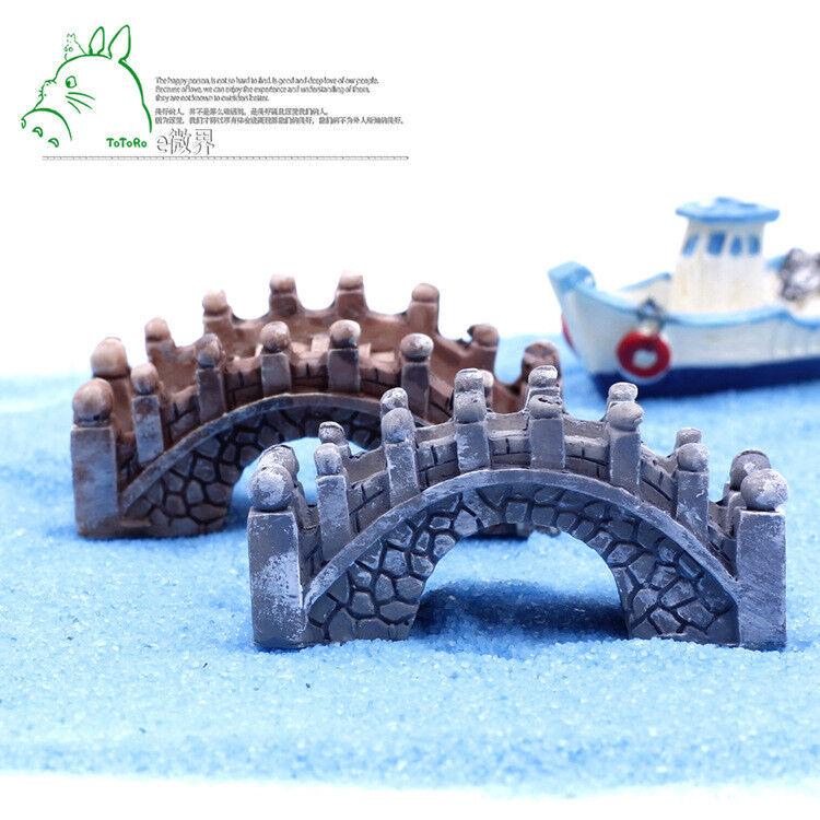 2x Resin Miniatures Bridge Stone Arch Micro Garden Dollhouse Fairy Garden Decor