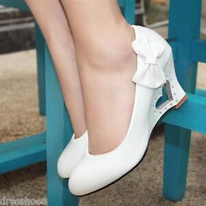 Women's Synthetic Leather Pumps Heart Wedge Heel Wedding Bridal Shoes AU Sz D022