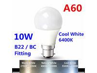 Bright 10W LED Bulb Lights Lamps Cool White 6400K B22 BC Bayonet Cap Retrofit A60