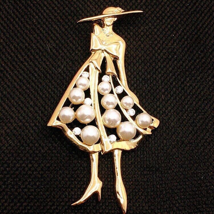 👗Vintage Gold Tone Lady Women Faux Pearl Dress Hat Brooch Pin Lot B