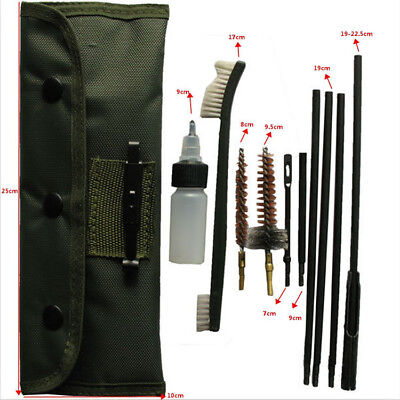 10Pcs 22LR 223 556 Rifle Gun Cleaning Kit Cleaning Rod Nylon Brush Fit Pouch NEW