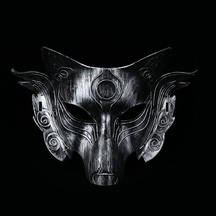 Half Face Japanese Samurai Wolf Head Cosplay Mask Halloween Party New Fox Mask
