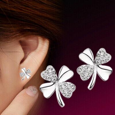 925 Silber Ohrringe Creole Kleeblatt Damen Ohrstecker Glücksklee Blume Neu**
