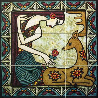 - Art Deer Colorful Accent Mural Ceramic Backsplash Bath Tile #1586