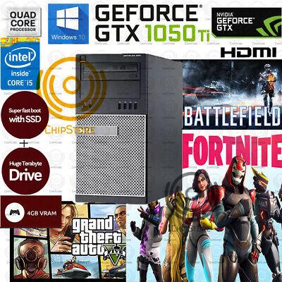 Fast Gaming PC Desktop Computer Quad Core i5 GTX 1050Ti SSD Win10 16GB HDMI WIFI