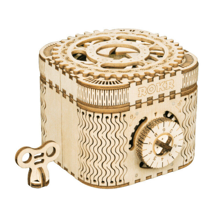 Robotime ROKR Treasure Box LK502 Mechanical Secret Locker 3D Wooden DIY Kit