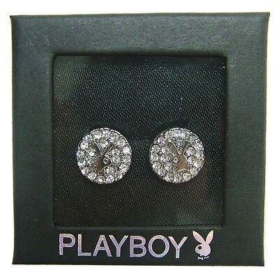 NEW Playboy Earrings Bunny Logo Stud Swarovski Crystal Silver Plated Jewelry Box