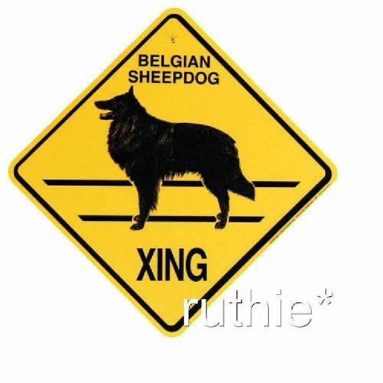 Belgian Sheepdog Crossing Xing Sign New Made in USA