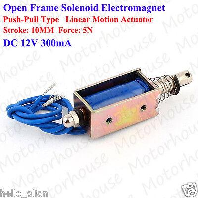 Dc12v Push Pull Type Open Frame Mini Solenoid Actuator Electromagnet Stroke 10mm