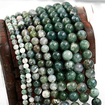 (Round Green Natural Aquatic Onyx Agate Beads Semi Precious Stone 4/6/8/10/12mm)