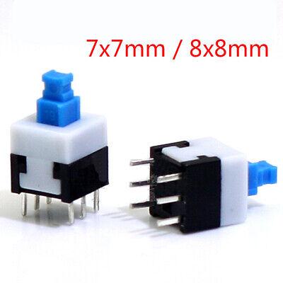 7x7mm 8x8mm Micro Tactile Push Button Switch 6 Pin Latching Self Lock Onoff