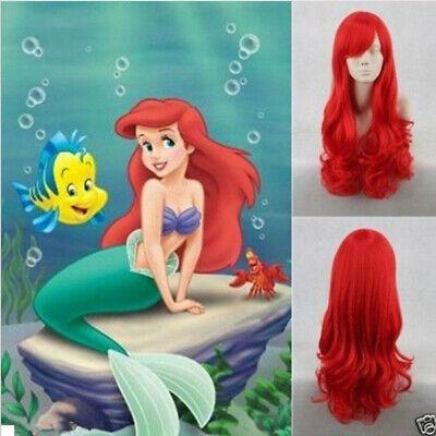 Red Mermaid Wig (Little Mermaid Ariel Princess Red Curly Anime Length Full Hair Wig Cosplay)