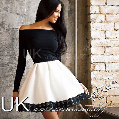UK Womens One Shoulder Skirt Dress Lace Skater Ladies Party Mini Dress Size 6-14