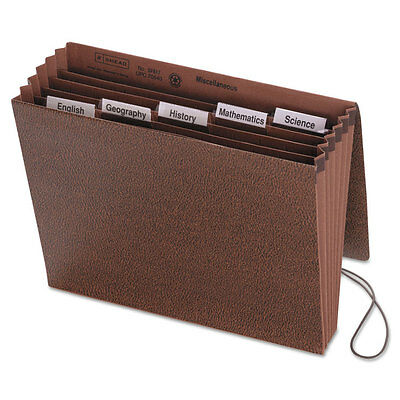 Smead Expanding File, 6 Pockets, 1/5 Tab, Leather-Like Redrope, Letter, Red