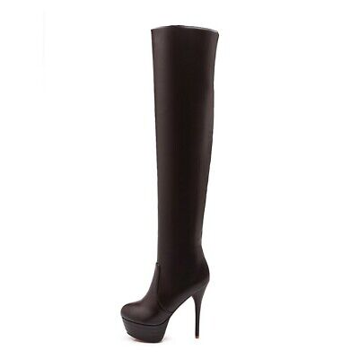 Womens High Stiletto Heel Platform Round Toe Over Knee Thigh Boots Shoes Zippers