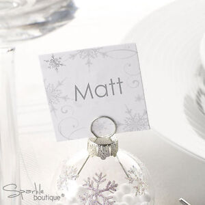 Snowflake Place Name Cards For Christmas Party Wedding Use With Bauble Holders