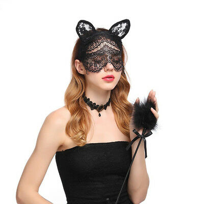 Black Lace Cat Ears Mask Veil Headband Fancy Dress Costume Nightclub Sex Deco](Black Veil Headband)