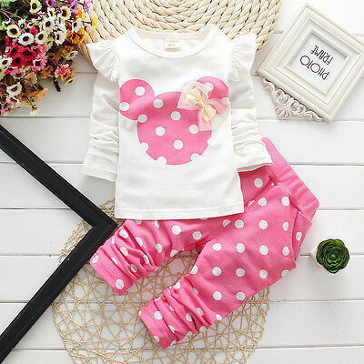 Newborn Baby Girls Minnie Mouse Outfits Clothes Tshirt Tops Long Pants 2PCS Set