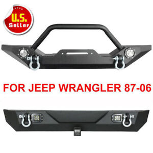 87-06 Jeep TJ YJ Wrangler Front Rear Bumper Winch Plate CREE LED Lights D-rings