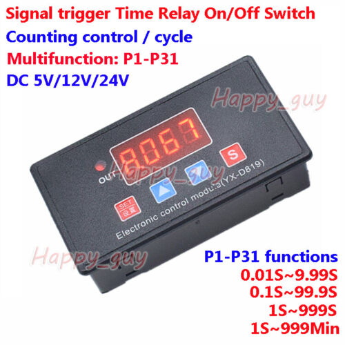 DC 5V 12V 24V Delay Turn On/off Timing Cycle Timer Relay Signal Trigger Switch