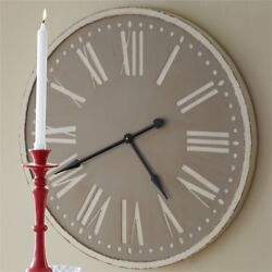 TAUPE WOOD CLOCK WITH ROMAN NUMERALS By SPLIT P/LARGE WALL CLOCK