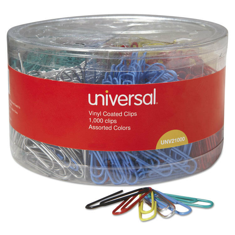 UNIVERSAL Vinyl-Coated Wire Paper Clips No. 1 Assorted Colors 1000/Pack 21000